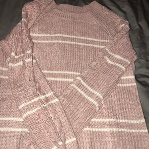 Sweaters - Pink and white knit sweater